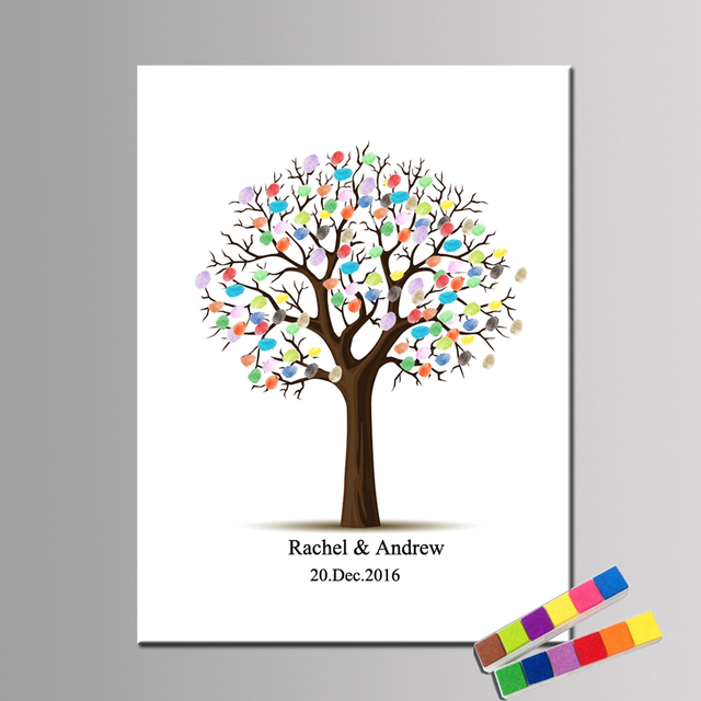 Canvas Print Wedding Tree Fingerprint Guest Book Gift Decor Party Supply Baby Shower