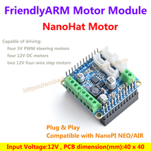 NanoHat Motor module with I2C can drive 5V PWM steering motors/12V DC motor/12V four-wire step motors