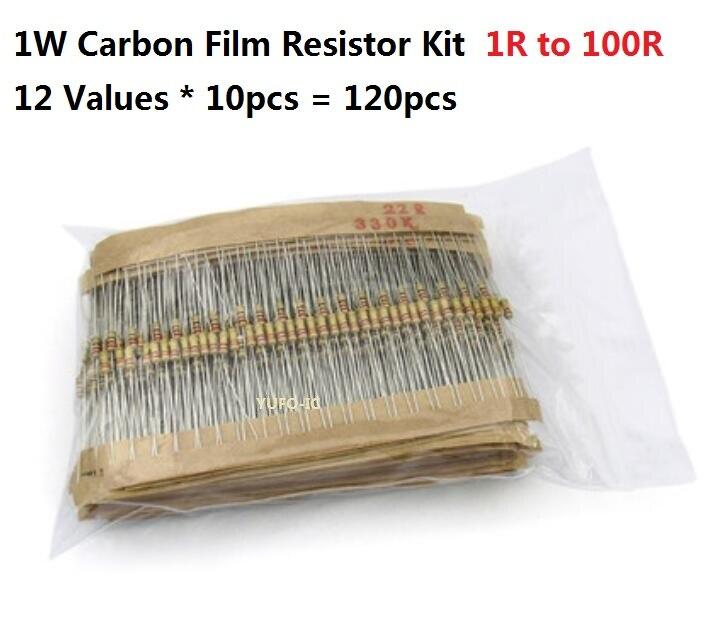 Kit de résistance en film de carbone, 12 valeurs * 10 pièces = 120 pièces, 1R-100R 1W, kit assorti, 2.2R 4.7R 6.8R 10R 15R 22R 33R 47R 68R 82R OHM