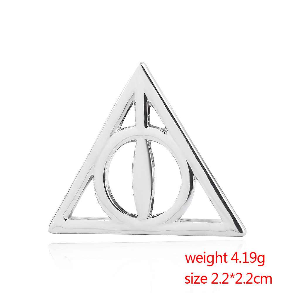 US $1 62 23% OFF|HP Potter fans Badge Brooch pin Harry The Deathly Hallows  Triangle For Women Kids Jewelry Christmas Gift -in Brooches from Jewelry &