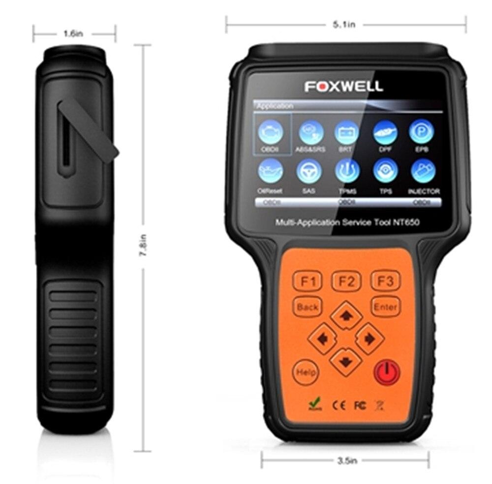 Foxwell NT650 OBD2 skaner samochodowy ABS Airbag SAS DPF EPB czytnik kodów resetowania oleju profesjonalne narzędzie diagnostyczne samochodu skaner OBD2