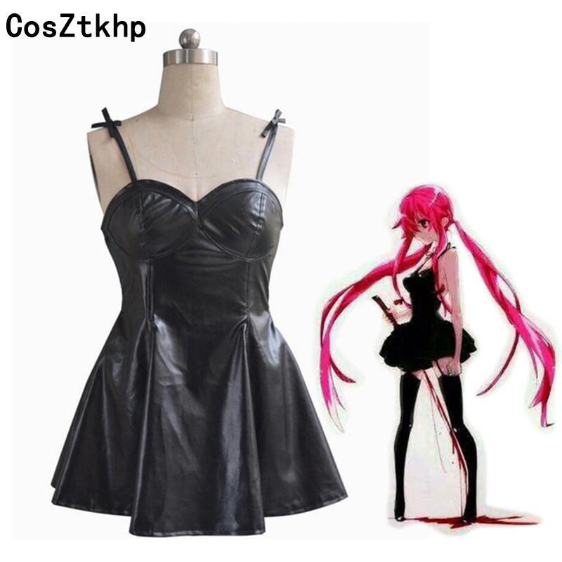 2019 New Anime The Future Diary Gasai Yuno Black PU Leather Dress Cosplay Costume Mirai Nikki Braces Skirt Performance Costumes