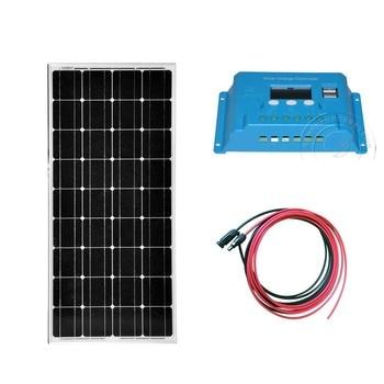 Kit Mono Panel Solar 100w 12v Solar Charge Controller 12v/24v 10A Caravan Car Camp Rv Motorhome Battery Charger
