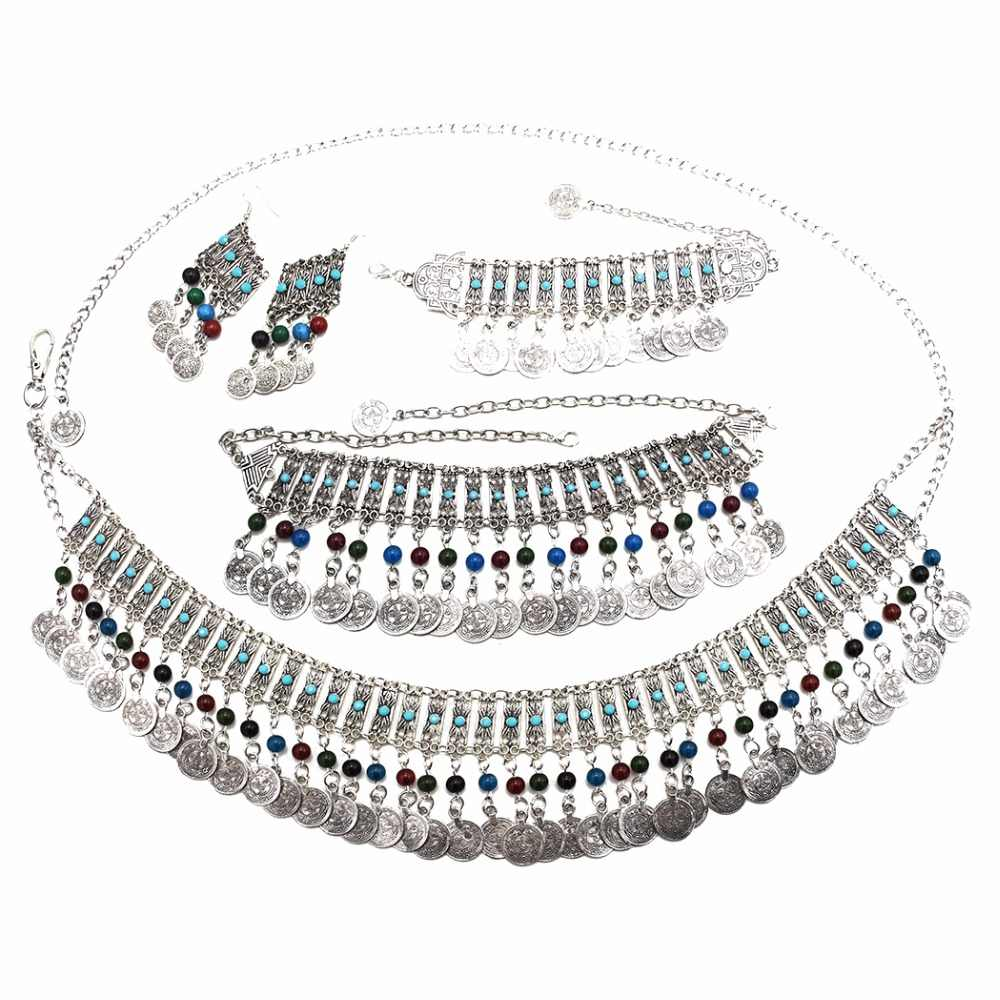 Indian Oxidized Silver Jhumka Coin Tassel Statement Drop Earrings Bracelet Necklaces Set Body Waist Chains Afghan Jewelry Sets