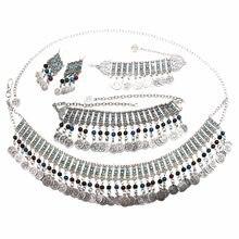 258071b7b93b Indio geométrico de plata Jhumka moneda borla declaración pendientes de  gota pulsera collares cuerpo cadenas en la cintura afgan.