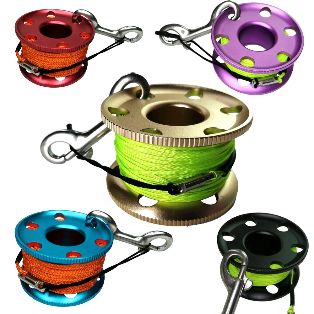 Scuba Diving Reel Spool With Stainless Steel Snap Bolt Clip SMB Safety Sausage Finger Spool For Underwater Diver Snorkeling Cave