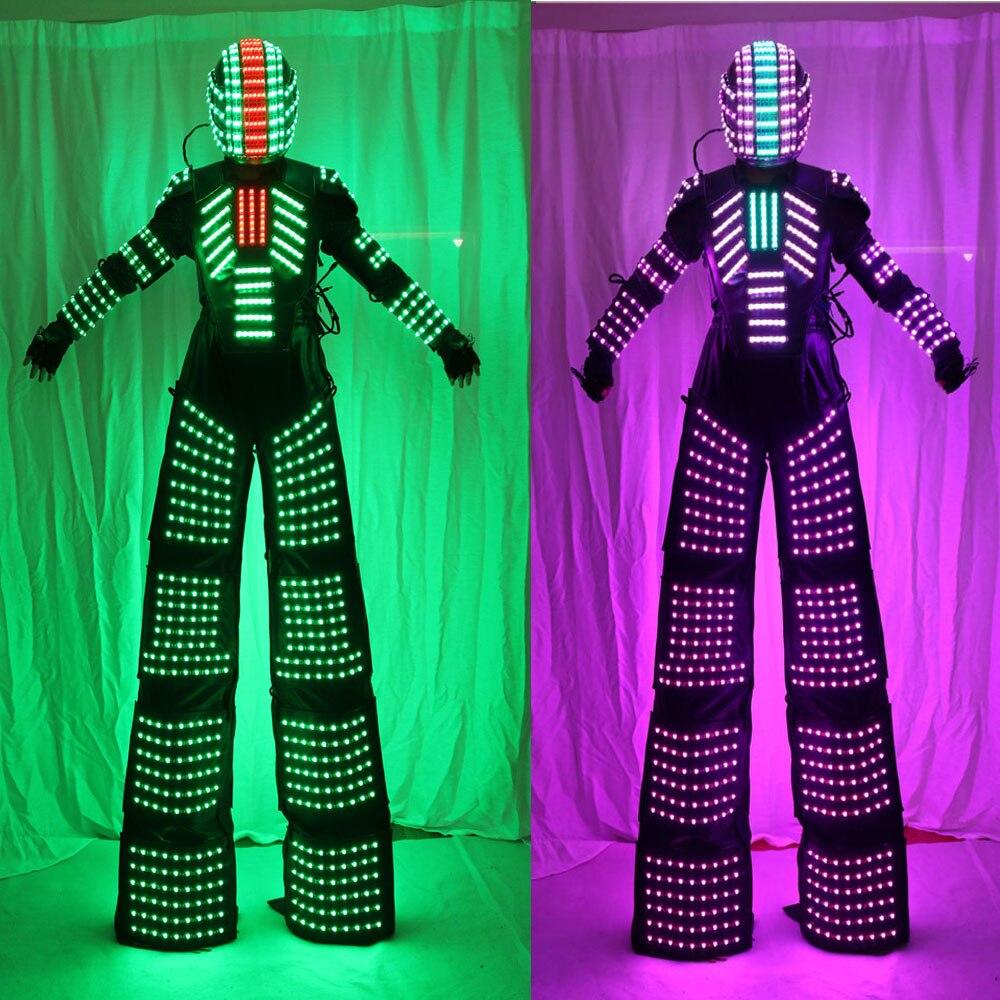 Palafitas Walker Luzes LED Trajes, LED Dancer LED Terno Robô Para O Desempenho Do Partido Festival de Música Eletrônica DJ Mostrar