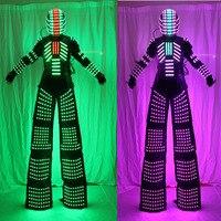 Stilts Walker LED Lights Costumes,LED Dancer Costume LED Robot Suit For Party Performance Electronic Music Festival DJ Show