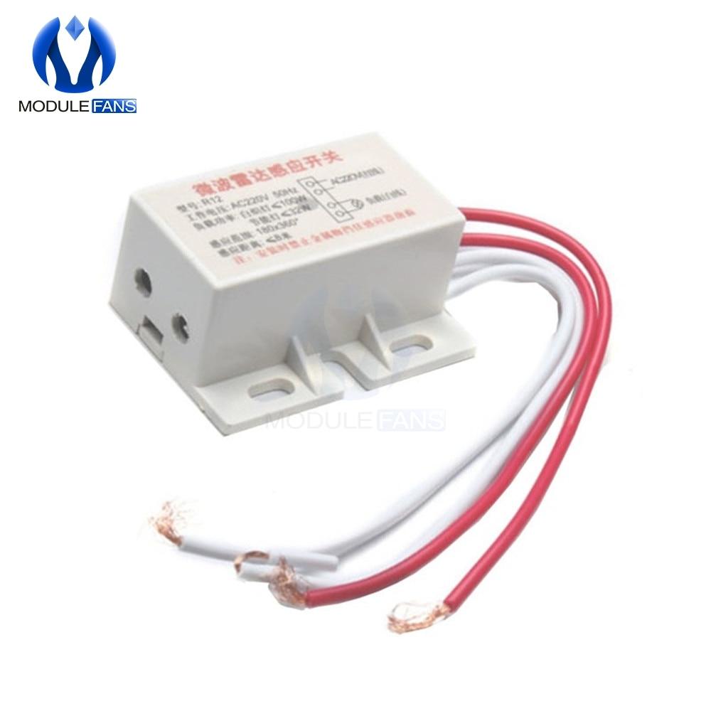 220V AC 50Hz Auto Infrared Human Sensor Switch PIR Microwave Radar Body Motion Sensor Module Adjustable For Time Distance Range