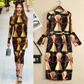 Modelos de pasarela vestidos 2017 resorte de la impresión vestidos de mitad de la pantorrilla volver rose botón de manga larga primavera vestidos vestidos venta caliente