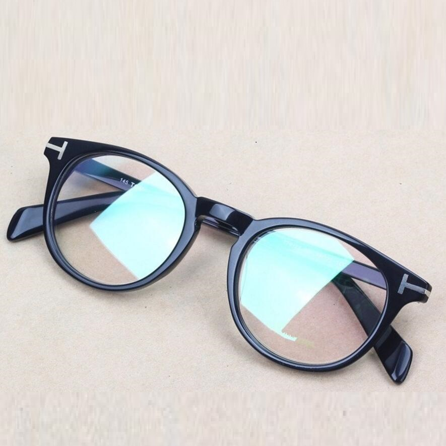 Vazrobe Brand Retro Round Glasses Frame Black Tortoise -2404