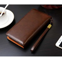 Men Wallet Oil Leather Handmade High Quality Business Hand Purses Card Holder Wallet Pocket Zipper Men