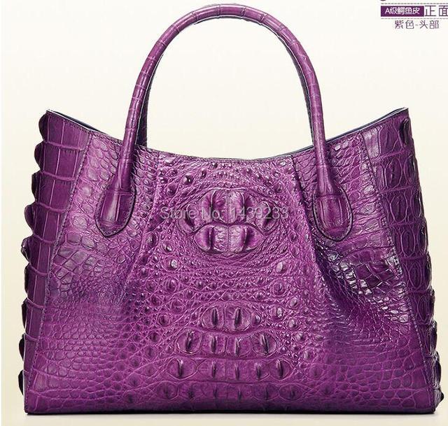 100 Genuine Crocodile Skin Leather Women Handbag Alligator Womens Tote Bag Purple