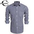 COOFANDY Men Business Shirt 2017 New Fashion Work Long Sleeve Print Plaid Button Down Casual Shirts US Size S/M/L/XL/XXL