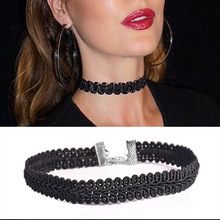 Black Lace Wave Choker  Necklace