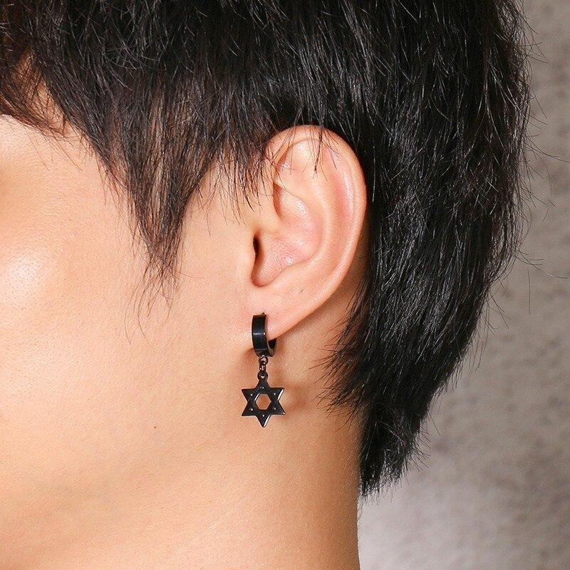 Boucles d'oreilles uniques en forme de cerceau hexagramme  1