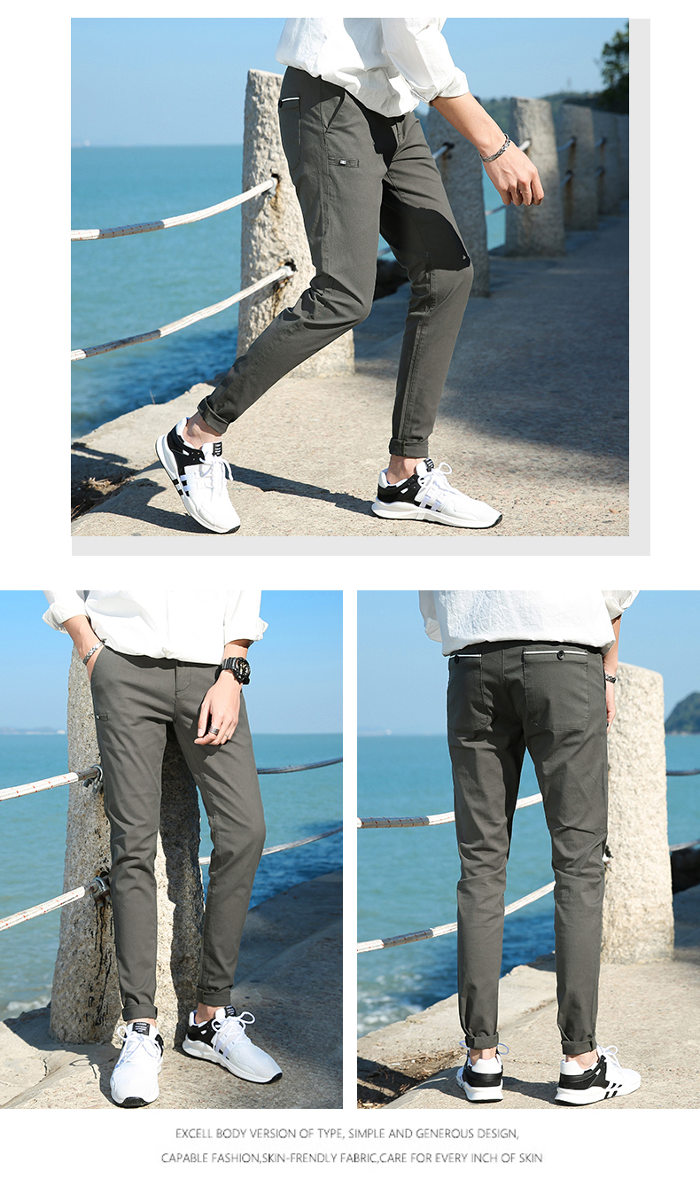 Casual Men Cotton Slim Fit Chinos Pants 2