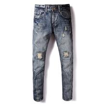 Retro Design Fashion Mens Jeans Italian Style Vintage Ripped Jeans Men Slim Fit Casual Pants DSEL Brand Streetwear Biker Jeans