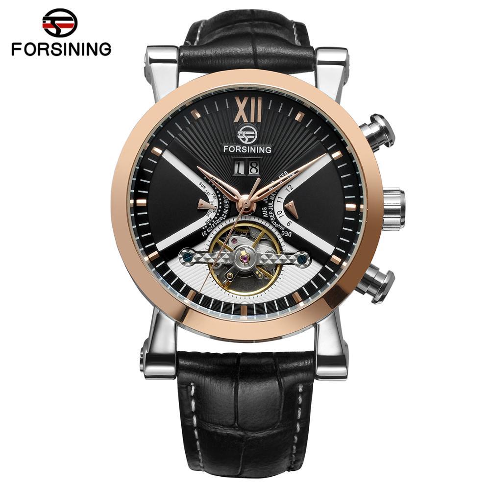 ФОТО 2017 Men's Tourbillon Automatic Watches Luxury Brand Genuine Leather Steel Case Golden Watch Male Business Wrist Watches Clock