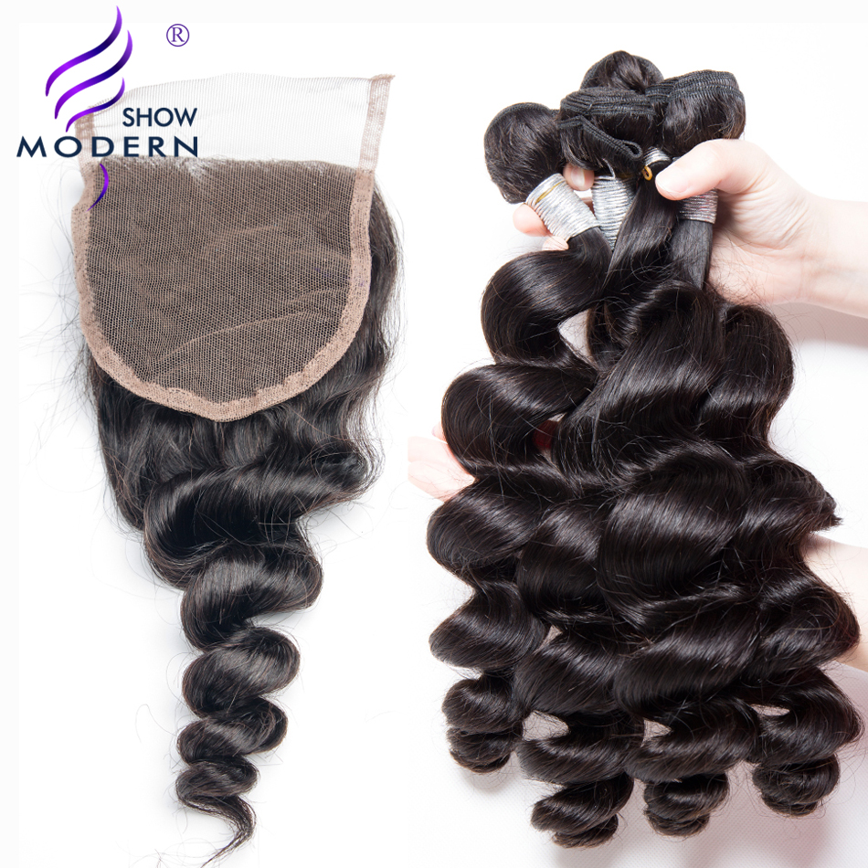 Modern Show Loose Deep Wave Bundles With Closure Peruvian Hair Bundles 3 pcs Human Hair Bundles With Closure 4 Pcs/lot Non Remy