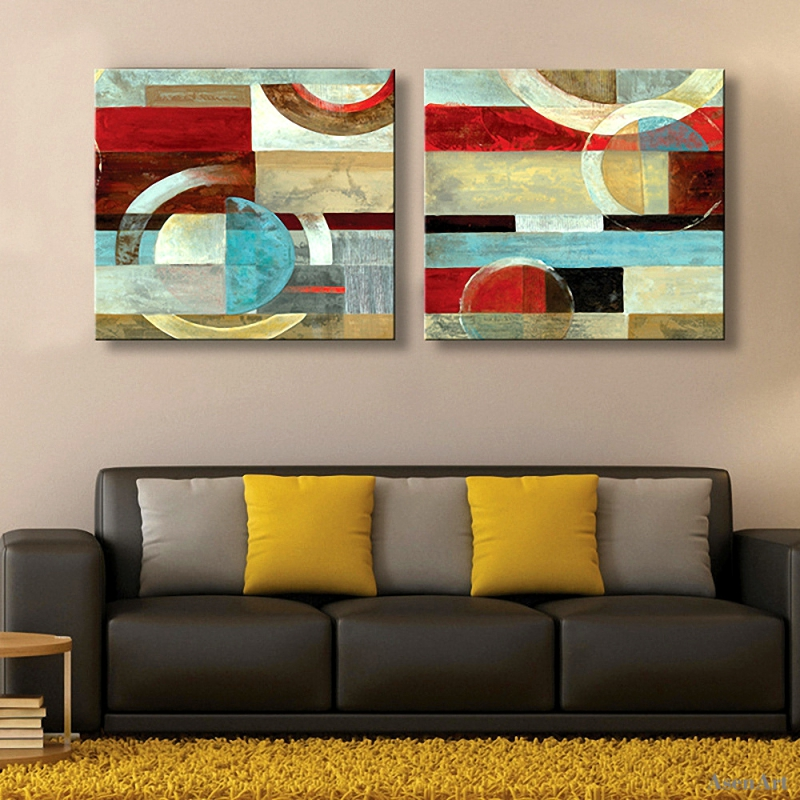 2 Pieces Hand Painted Abstract Oil Painting Modern Wall