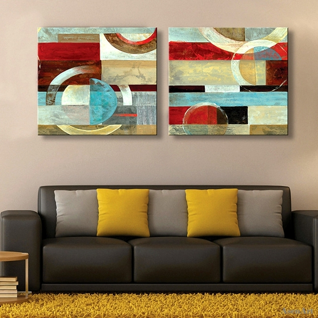 2 Pieces Hand Painted Abstract Oil Painting Modern Wall Art Picture On  Canvas For LIving Room Part 6
