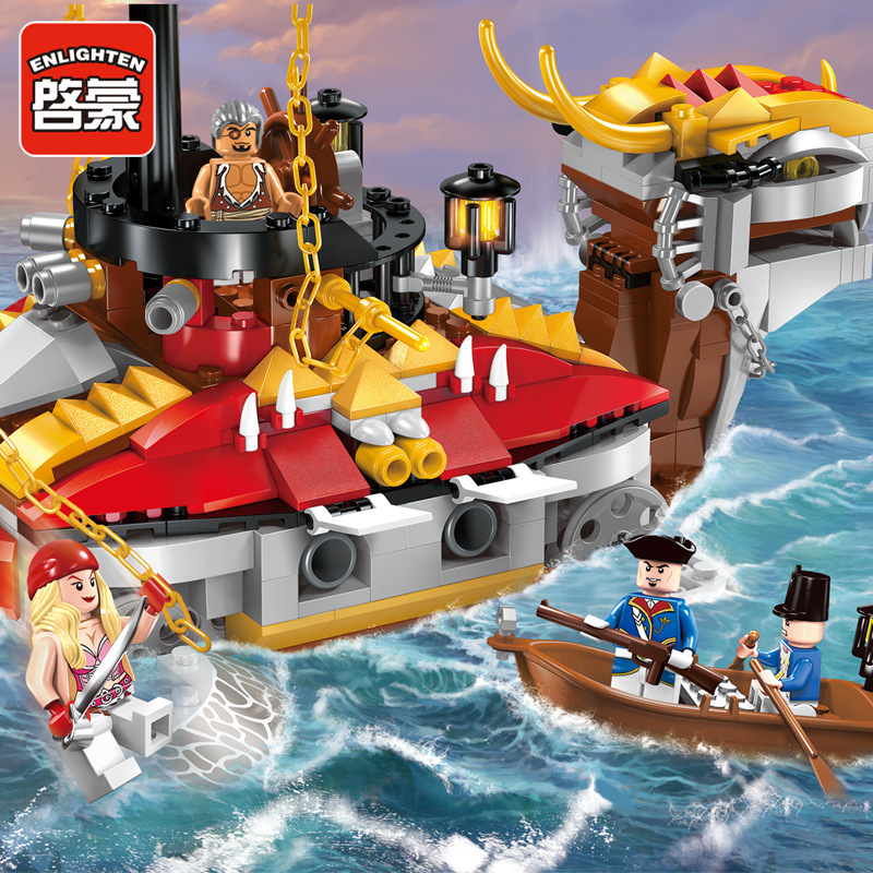 464pcs Enlighten 1312 Pirates of the Caribbean Armor Battleship Corsair Boat Assemble Model Building blocks Set For Children kazi 608pcs pirates armada flagship building blocks brinquedos caribbean warship sets the black pearl compatible with bricks