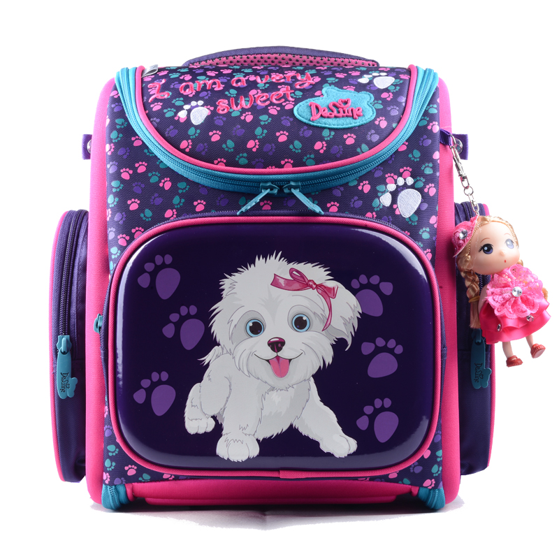 Delune 4 Patterns Waterproof Children School Bag for Girls Boys Real Orthopedic School Backpack Kids Bag Mochila Escolar new fashion animal school bag for boys cute dog children orthopedic school backpack for girls children mochila escolar for kids