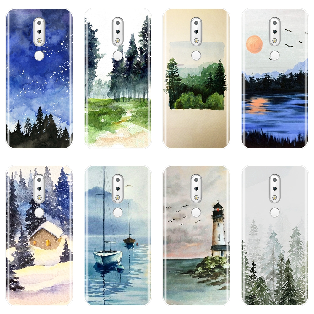 TPU For <font><b>Nokia</b></font> <font><b>7.1</b></font> 6.1 5.1 3.1 2.1 Case Silicone Soft Forest Art Sky Sea <font><b>Back</b></font> <font><b>Cover</b></font> For <font><b>Nokia</b></font> <font><b>7.1</b></font> 6.1 5.1 3.1 2.1 Plus Phone Case image