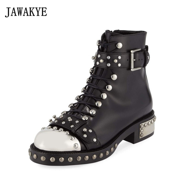 JAWAKYE Rivets Motorcycle Boots Women Studded Leather Buckle Ankle Boots  Flat Heel Metal Toe Punk Gladiator Winter Booties f7ff1136009e