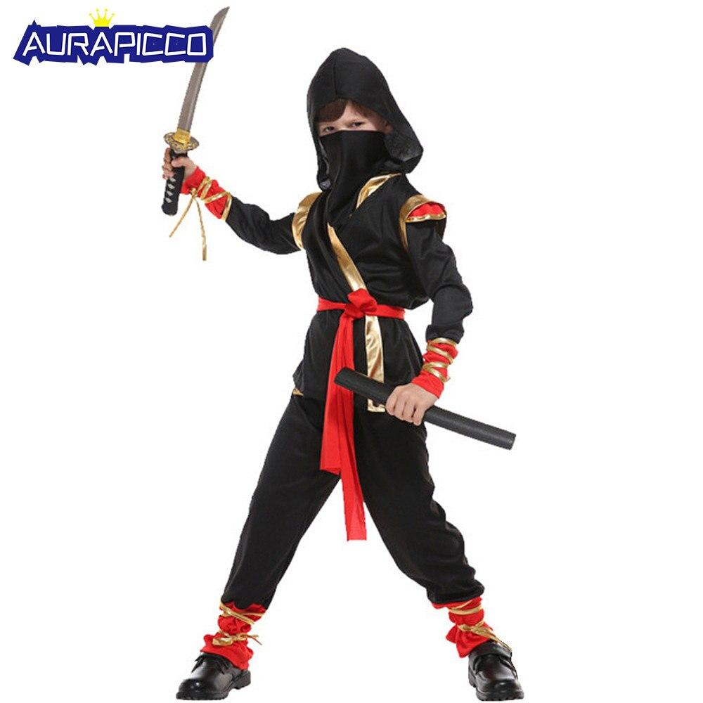 Child Ninja Costume Black Assassin Role Play Cool Mini Ninja Warrior Outift Fancy Dress Halloween Costumes for Kids