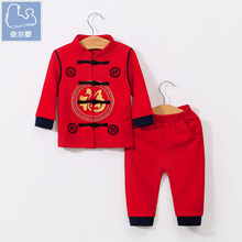 YiErYing Infant clothes spring and autumn set 0-1 years Chinese style Tang red baby boys girls full moon age dress
