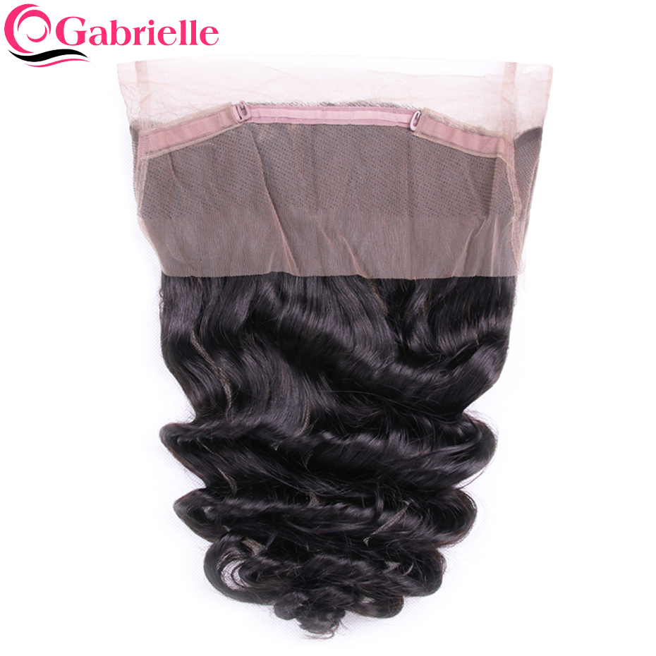 Gabrielle 360 Lace Frontal Brazilian Loose Wave Pre Plucked Human Hair Closure with Baby Hair Non remy Hair Extensions-in Closures from Hair Extensions & Wigs    1