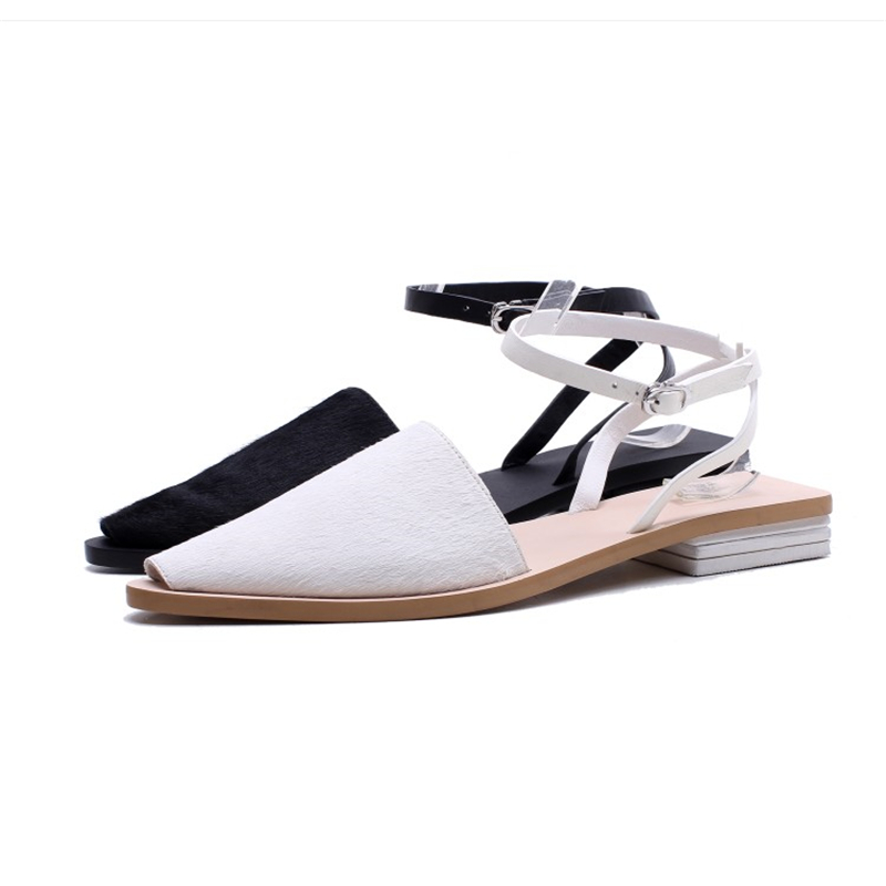 Ouqinvshen Cross-tied White Summer Shoes Women Craft Causual Peep Toe Party Ladies Sandals Fashion Buckle Strap Women Shoes 1.5