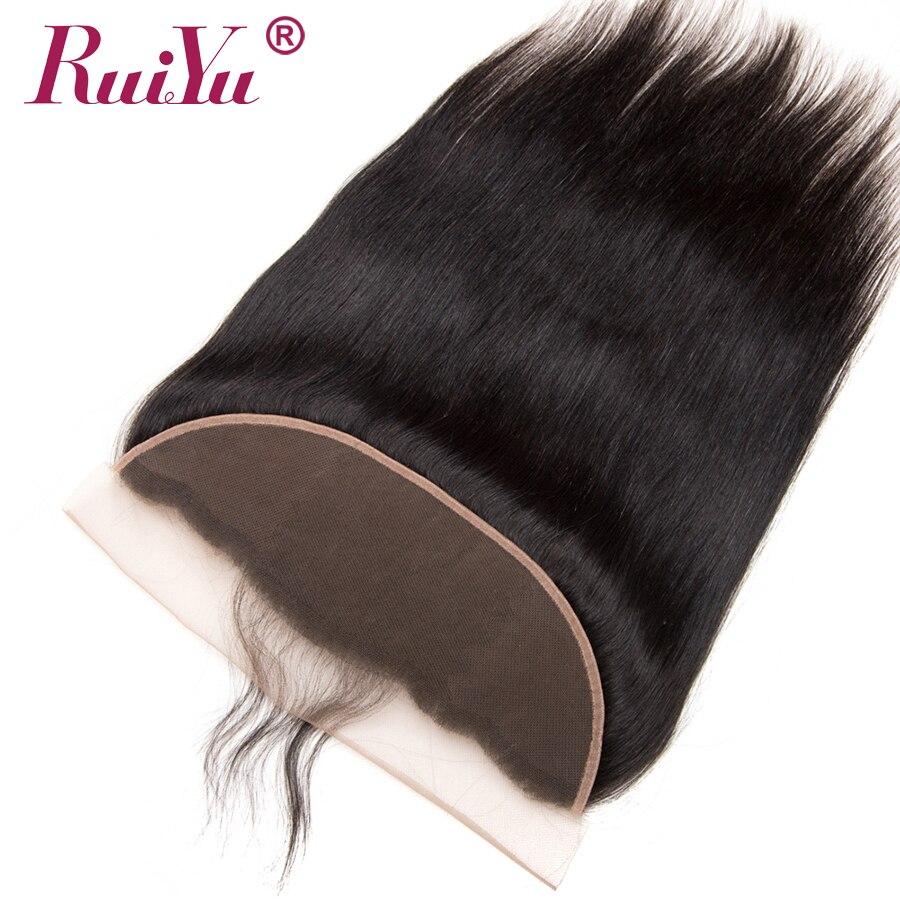 RUIYU Peru taisni matu mežģīņu frontālās slēgšanas auss uz - Cilvēka mati (melnā krāsā) - Foto 3