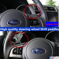 High Quality Steering Wheel Shift Paddles Carbon Fibre Alloy Trim 2pcs For Forester Outback Legacy Impreza