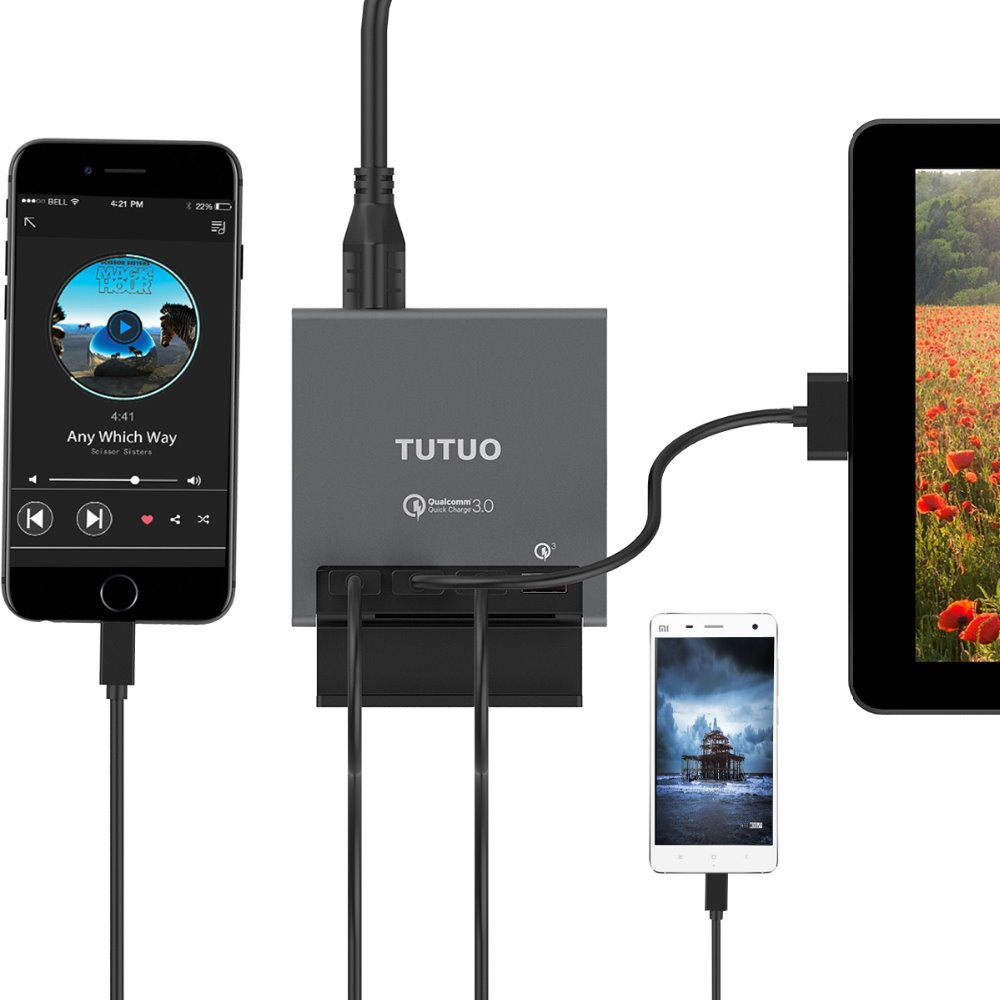 Tutuo 5V 8A USB Phone Charger 4 Port USB Charge Adapter Travel USB Wall Charger Adapter With LED Light for Mobile Tablet