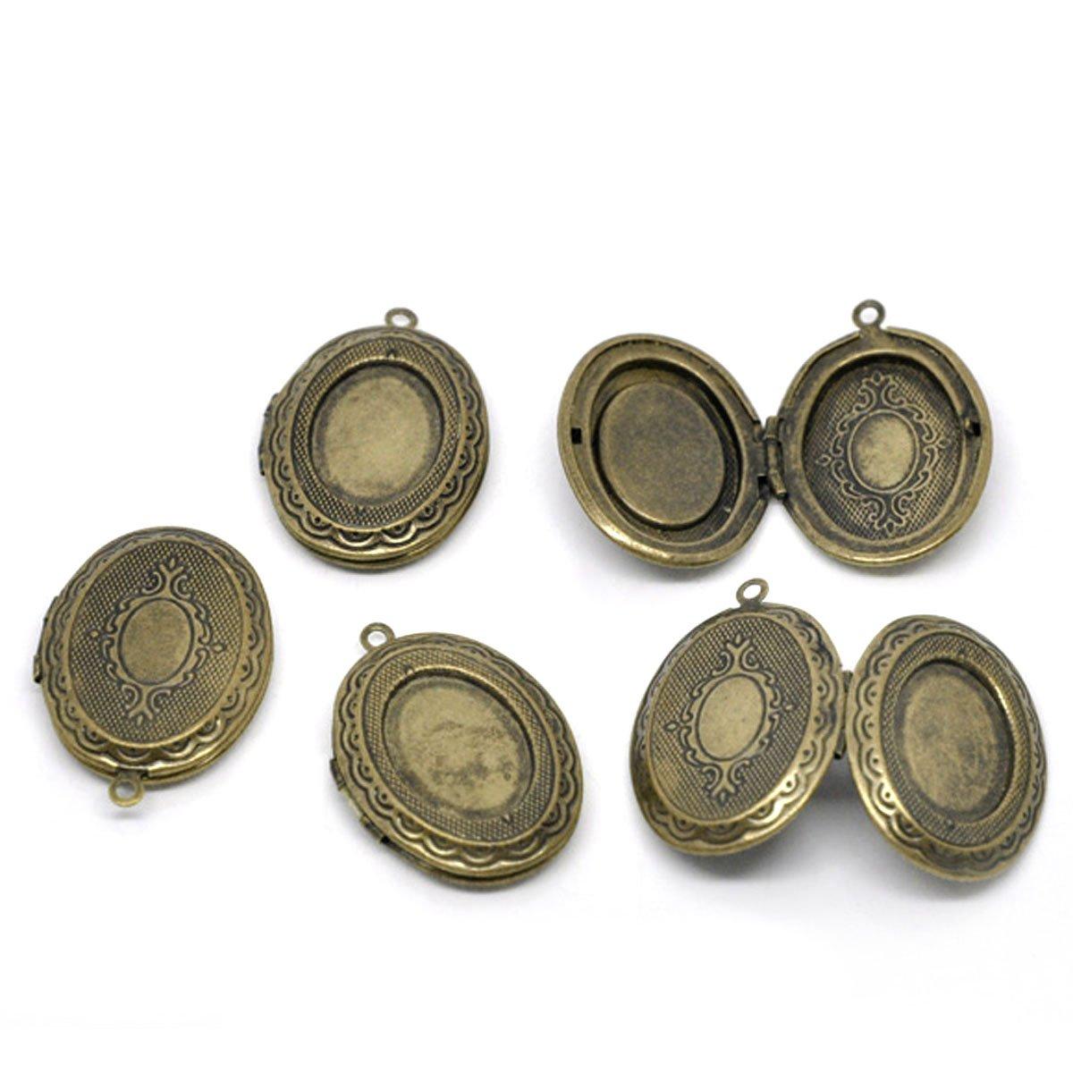 Hot Sale 5 Medallion Oval Pendants 34x24mm Bronze Color Photo holder