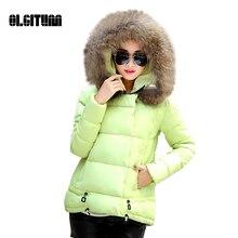 2016 Моды Хлопка-Ватник женские Зимние Пальто Меховой Воротник Теплый Тонкий Линии Вниз Куртка Топы для женщин W382
