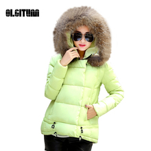 2016 Fashion Cotton-Padded Women's Down Coats Winter Coat Fur Collar Warm Slim A-Line Down Jacket Tops