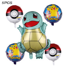 Cartoon Pikachu Pokemon Go Foil Balloons Happy birthday party decorations kids Baby shower Supplies toys Children's Day(China)