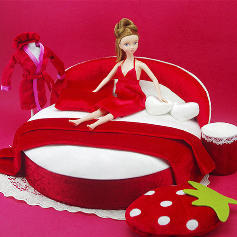 kawaii 1:6 Dollhouse Furniture toy Miniature red soft bed sofa Sleep skirt Mini dolls accessory For doll house bedroom toys doub k 1 12 wooden dollhouse furniture toy simulation miniature bed bedroom dolls house accessories pretend play toys for girls