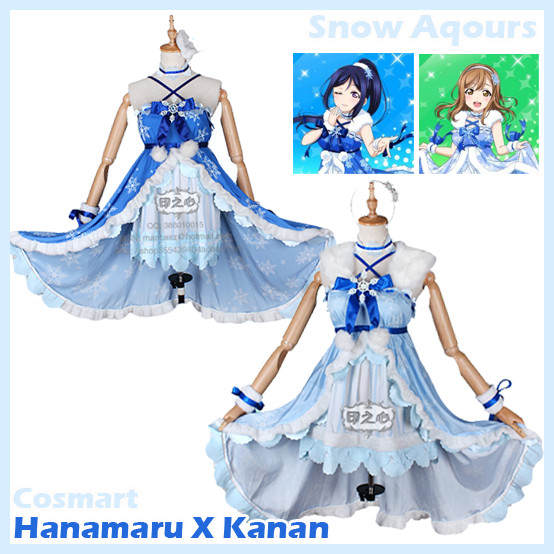 [Customize] Anime Love live Sunshine!! Aqours Hanamaru Kanan Play with snow Dress Full set Cosplay costume New 2018 free ship
