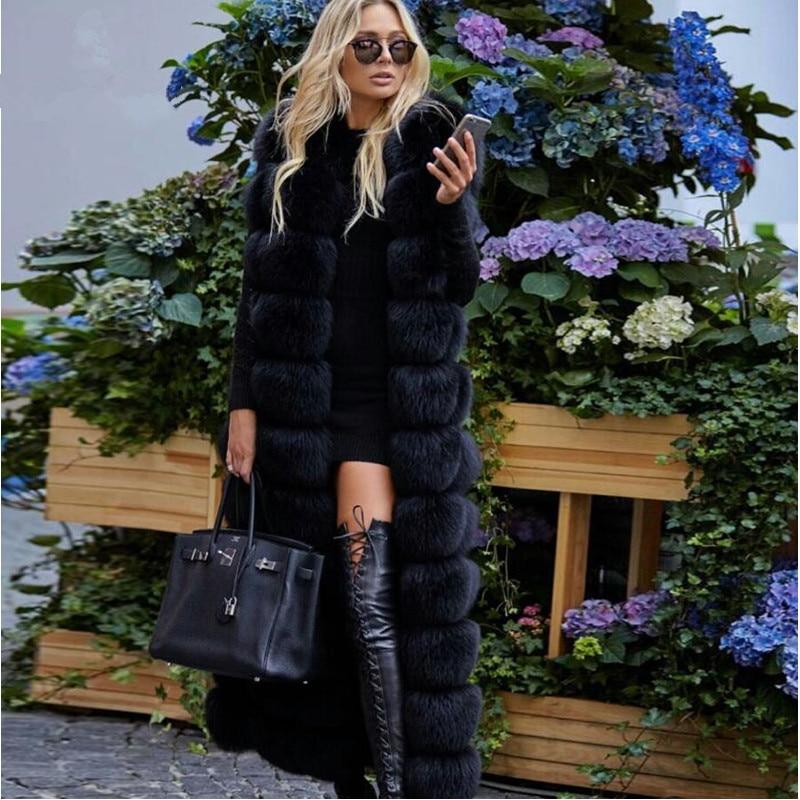 2018 New Collection Winter Real Fox Fur Gilet Women Luxury Warm Fur Vest 120cm X-Long Fashion Real Fox Fur Waistcoat Jacket