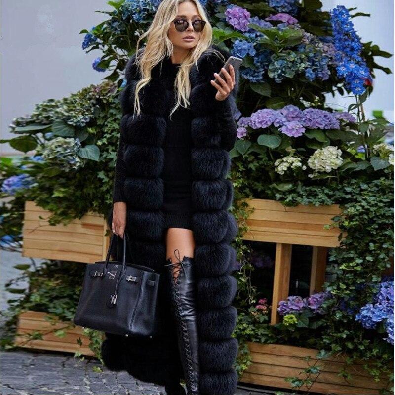 2018 Nouvelle Collection Hiver Réel de Fourrure De Renard Gilet Femmes De Luxe Chaud Gilet De Fourrure 120 cm X-Long Mode Réel fourrure De renard Gilet veste