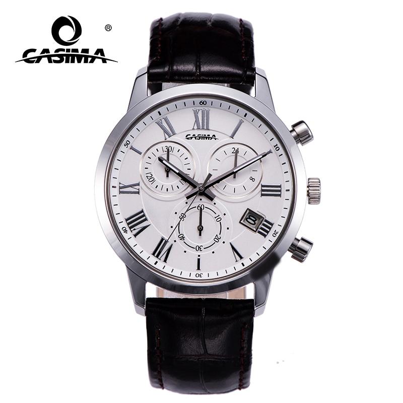 Men Fashion Casual  quartz wrist watch date chronograph luminous waterproof leather watchband male clock 5120
