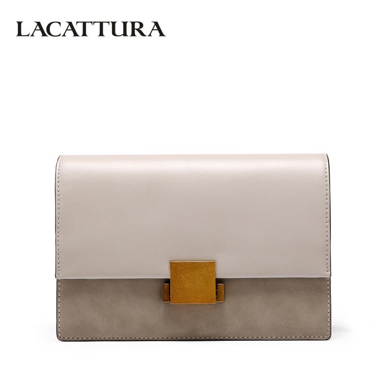 LACATTURA Women Leather Messenger Bag Crossbody for Lady Luxury Designer Handbag Fashion Shoulder Bags Candy Clutch Patchwork lacattura small bag women messenger bags split leather handbag lady tassels chain shoulder bag crossbody for girls summer colors