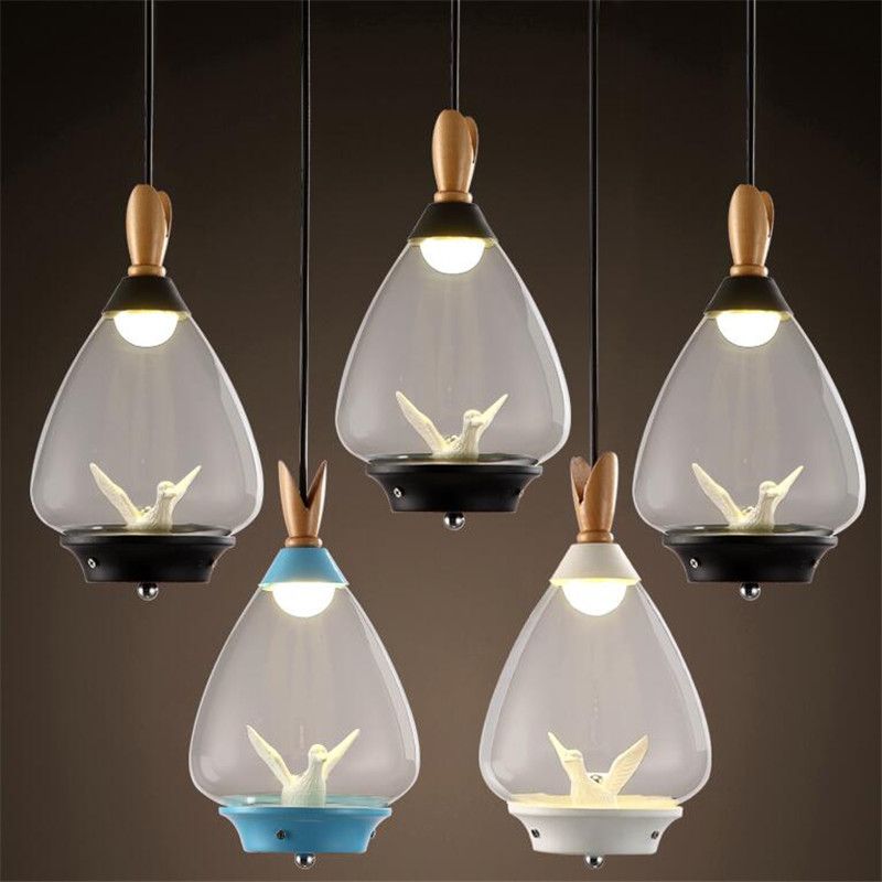 Modern Creative Europe Black/White/Blue Glass Wood Led E27 Pendant Light for Restaurant Dining Room Living Room AC 80-265V 1509 modern creative fashion wood fabric led e27 floor lamp for living room bedroom hotel guest room deco light ac 80 265v 1010