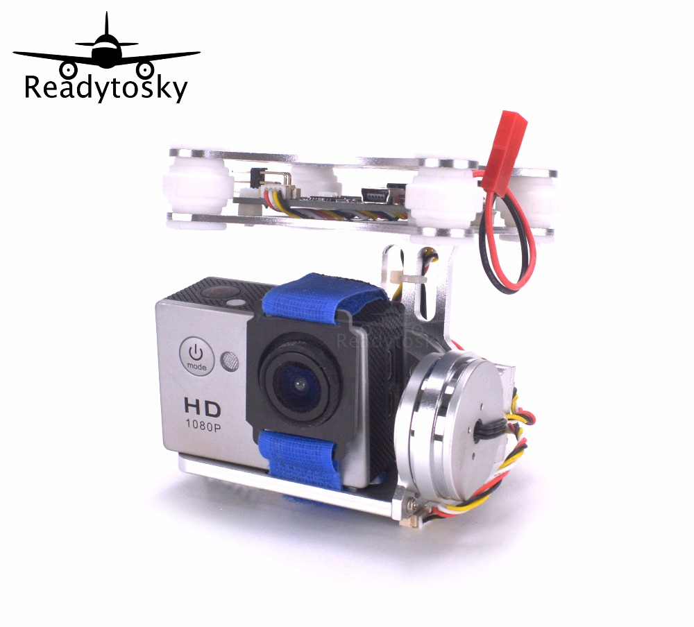 RTF CNC Lightweight 2-Axis Brushless Gimbal Board with Sensor debug for Gopro3 4 Gopro Hero 5 6 Gopro session SJ4000 Camera fpv 3 axis cnc metal brushless gimbal with controller for dji phantom camera drone for gopro 3 4 action sport camera only 180g