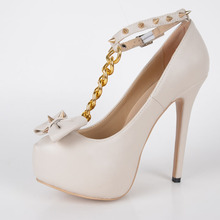 Pink Rivet Round Toe Platform High Heels Pump With Bowknot Chain T-strap Made-to-order Plus Size Cheap High Heel Pumps